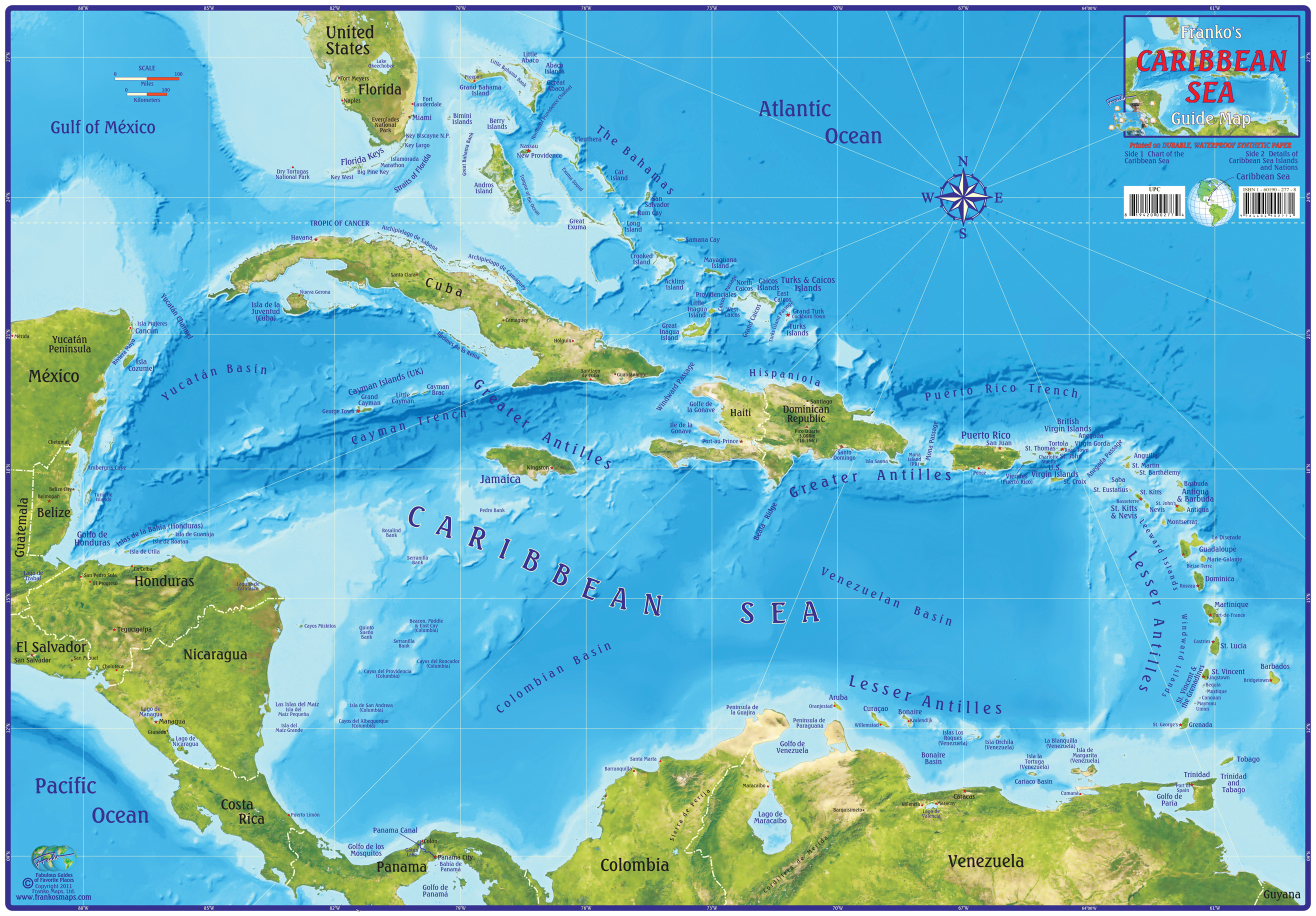 Franko Maps Caribbean Sea Guide Map