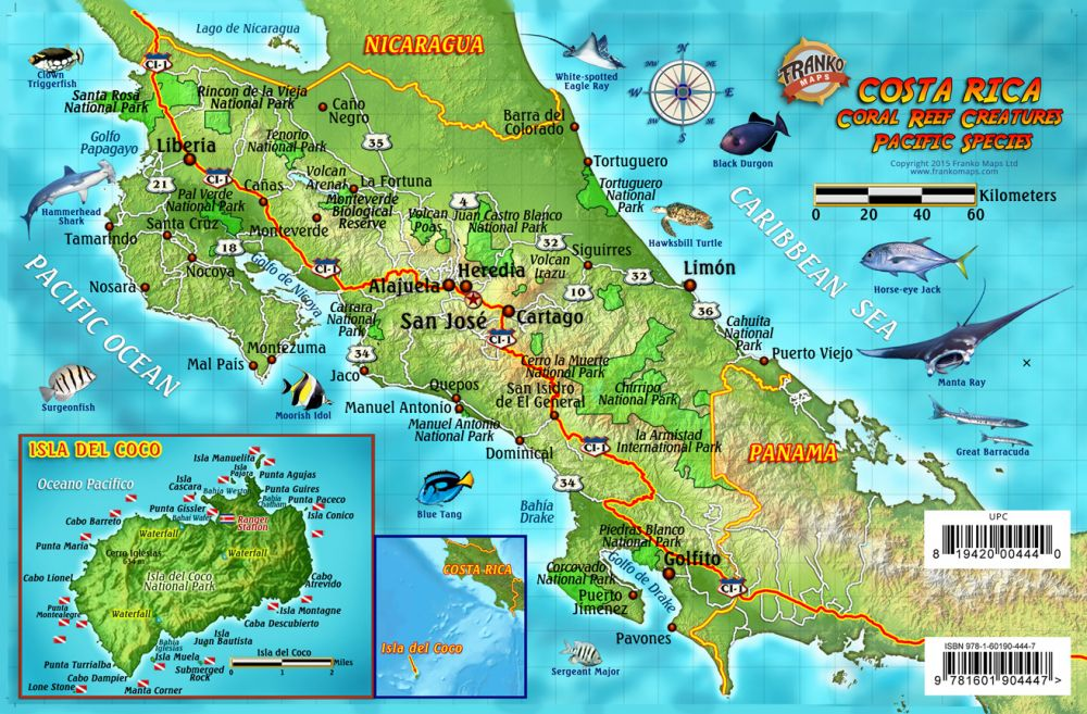Franko Maps Costa Rica - Pacific Reef Species